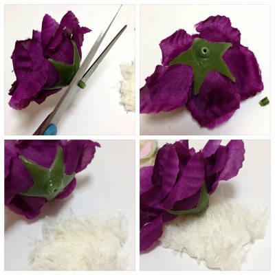 花をくっつける作業