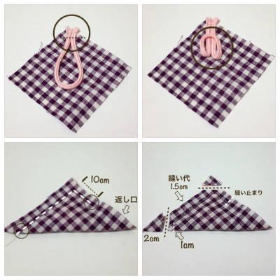 ハギレにヒモを縫い付ける