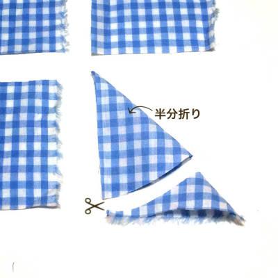 布の端を曲げる