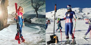 US-Ski-Team in Marvel Outfits unterwegs