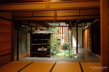 gion festival interior garden machiya townhouse traditional architecture kyoto japan
