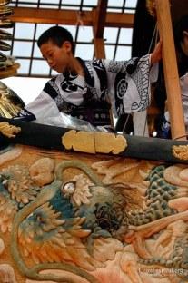 yukata boy dragon embroider textile fune boko gion festival kyoto japan
