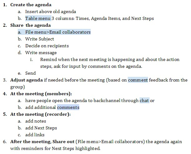 collaborative agenda process Google Docs