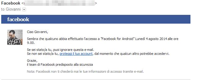 Facebook Accesso nuovo dispositivo