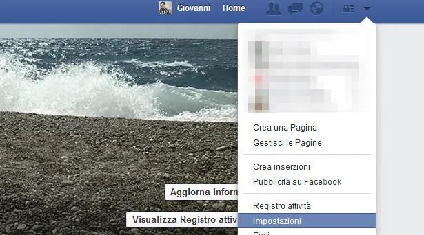 Menu Impostazioni Account Facebook