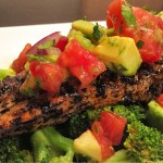Healthy Cooking:  Cilantro Lime Chicken with Avocado Salsa and Turmeric Broccoli