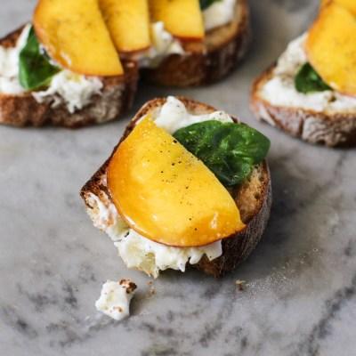 food on toast – peach, burrata and basil