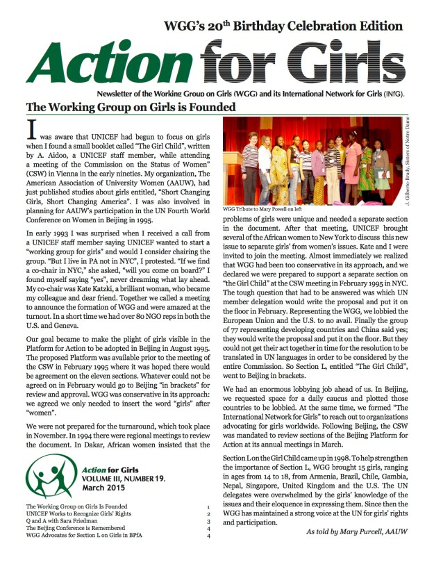 Action for Girls 20th Anniversary Edition 2015 copy