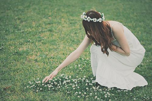 草原で花を摘む女の子のフリー写真素材(商用可)