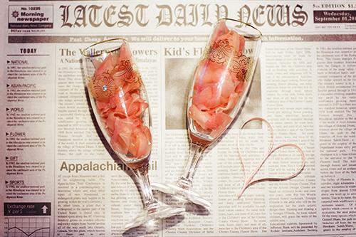 よくわからないままオシャレなグラスにつめこまれたガリ【エイプリルフール企画2016】のフリー写真素材(商用可)