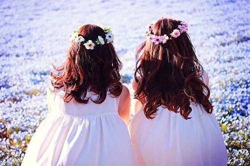 ふたり並んで花畑を見つめる双子の女の子たちのフリー写真素材(商用可)