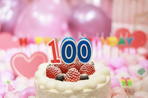 オシャレな誕生日画像:可愛いケーキとキャンドルでお祝い〜100日・100歳編〜のフリー写真素材(商用可)
