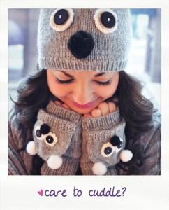 care to cuddle koala hat and mitten set knitting pattern