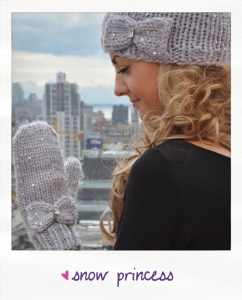 snow princess sequin knitted hat and mitten set knitting pattern