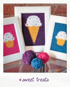 sweet treats knitted wall art knitting pattern