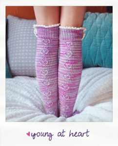 young at heart heart cable lace placket socks knitting pattern
