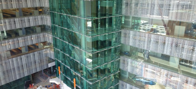 The ground floors all open onto the courtyard, with a large glass stairwell at the very centre.