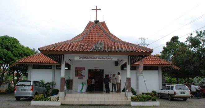 Gedung Gereja Wisma Kasih Mangunharjo, tampak dari sisi depan | Foto oleh Elisanta Sty