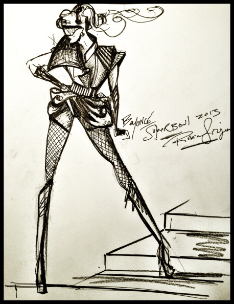 Sketch Of Beyonce's Super Bowl Halftime Performance Costume