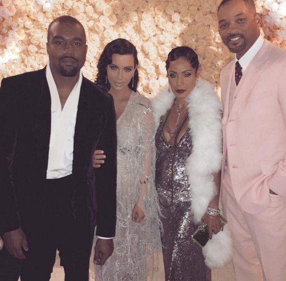 Kanye West, Kim Kardashian West, Jada Pinkett Smith, and Will Smith