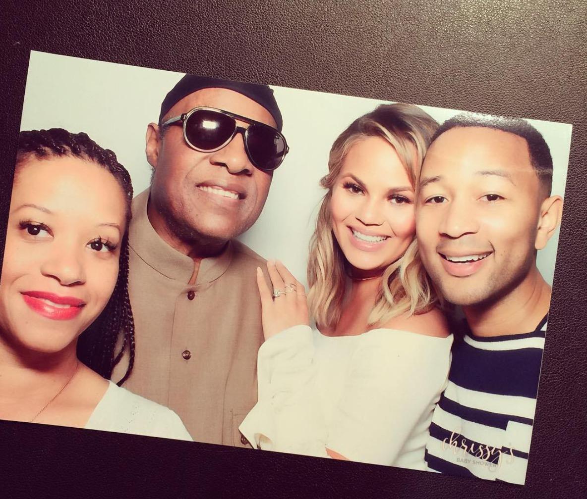 Chrissy Teigen, John Legend, and Stevie Wonder At Baby Shower