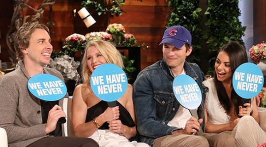 Kristen Bell and Mila Kunis Play 'Never Have We Ever' On 'Ellen' With Their Husbands