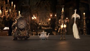 Ewan McGregor, Emma Thompson, Ian McKellen, and Gugu Mbatha-Raw in Beauty and the Beast (2017)/Photo:  Disney Enterprises
