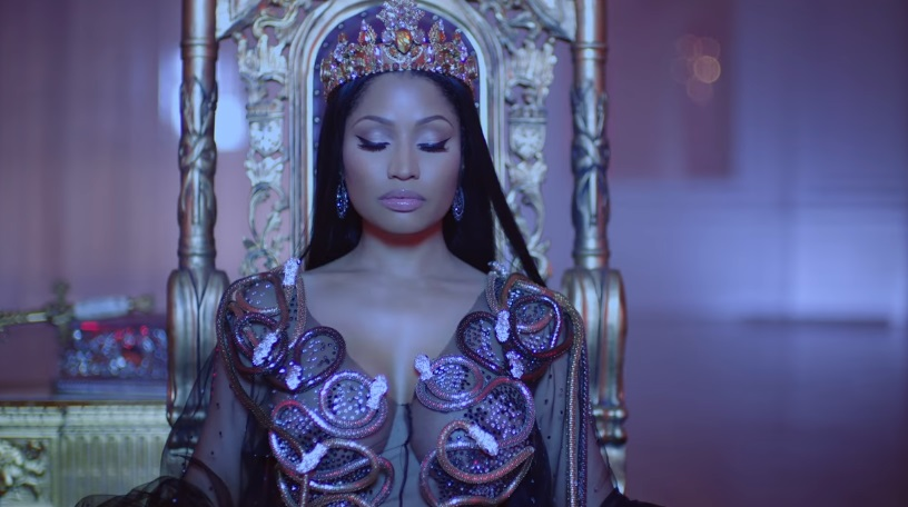 Nicki Minaj Sits On A Throne With Lil Wayne and Drake For 'No Frauds' Video