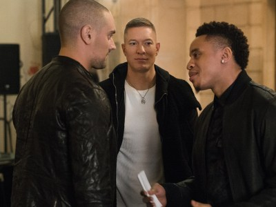 Aleksandar Popovic, Joseph Sikora, and Rotimi (L-R) in Power season 4/Photo: Courtesy of STARZ
