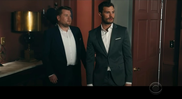 James Corden Recreates 'Fifty Shades' Playroom Scene With Jamie Dornan