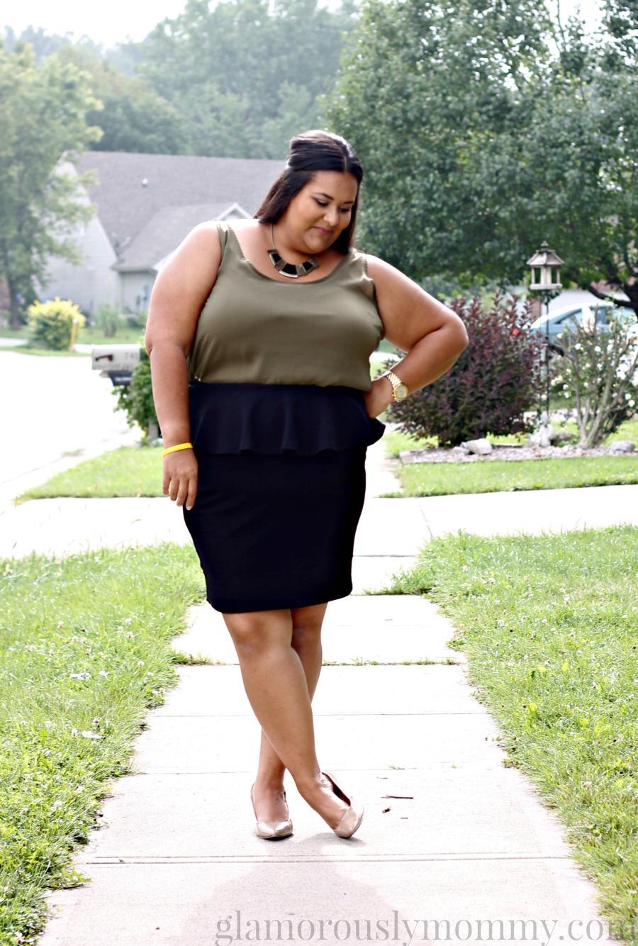 Plus Size Black Textured Peplum Skirt