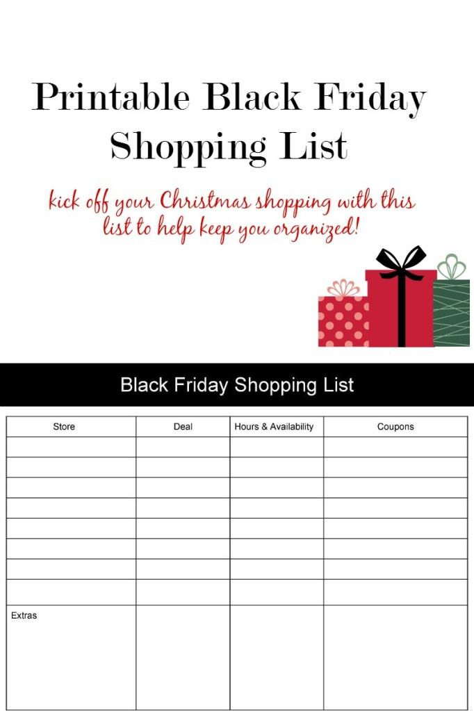 Printable Black Friday Shopping List