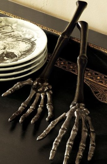 pottery barn skeleton hand servers