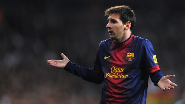 MADRID, SPAIN - JANUARY 30:  Lio Messi of FC Barcelona reacts during the Copa del Rey semi final, first leg match between Real Madrid CF and FC Barcelona at Estadio Santiago Bernabeu on January 30, 2013 in Madrid, Spain.  (Photo by Denis Doyle/Getty Images)