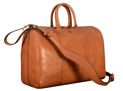 Hand-burnished-chestnut-Duffel-Bag;-19-x-13-x-9'