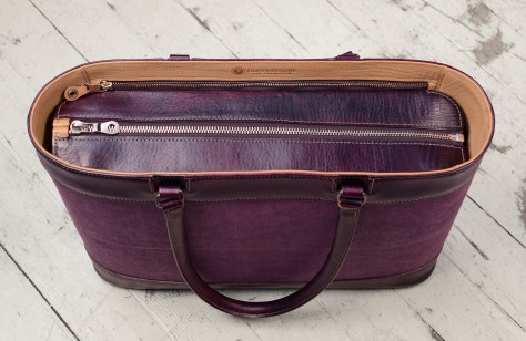 Hand-grained,-hand-colored-purple-Business-Tote-with-hand-colored-purple-belgian-linen-and-magenta-lining;-17-x-13-x-4'-topdown1