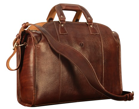 Hand-grained,-hand-colored-sienna-Deal-Bag-with-hand-grained-natural-trim-and-cadmium-yellow-grosgrain-lining;-18-x-12-x-6