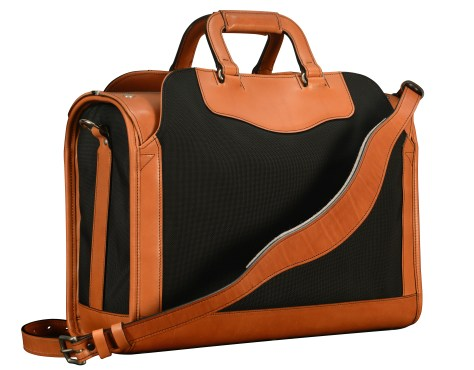 Special-order,-fabric-and-chestnut-leather-Deal-Bag;-17-x-12-x-7-back