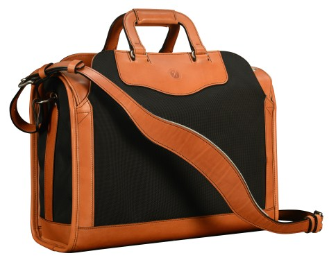 Special-order,-fabric-and-chestnut-leather-Deal-Bag;-17-x-12-x-7