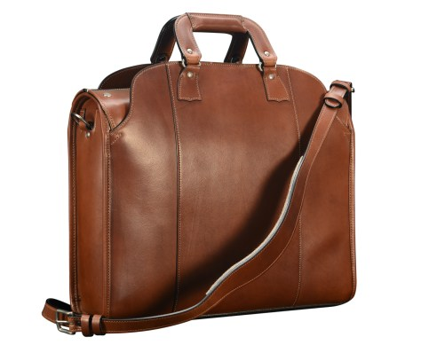 Hand-burnished-espresso-Deal-Bag-with-lime-green-lining;-18-x-14-x-5-back