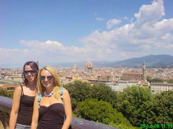 admiring the views over Florence, Italy