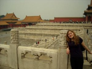 Me at the Forbidden City. Note the clear blue skies. A+ air quality.