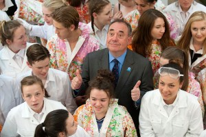 Scotland's First Minister Alex Salmond visits the Scottish Youth Theatre in Glasgow, to meet with the cast of Now's The Hour, a show performed by first-time voters aged 16 and 17 about their attitudes towards the forthcoming Scottish independence referendum.  Photo: Jane Barlow/PA Wire