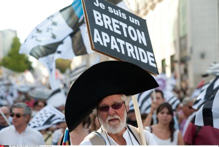 People demonstrate for the reunification of the Loire Atlantique department of France with the region of Brittany in the city of Nantes, Sept. 27, 2014. (Sipa via AP Images)