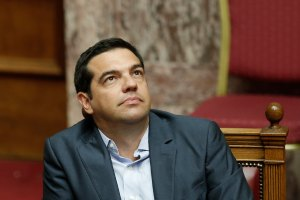 Greek Prime Minister Alexis Tsipras looks on during a parliamentary session in Athens, Aug. 14, 2015.  (AP Photo/Yannis Liakos)