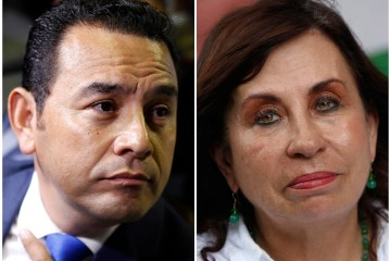 At left, Guatemalan presidential candidate Jimmy Morales, of the National Front of Convergence party, at a Sept. 7, 2015 press conference in Guatemala City, and Sandra Torres, National Unity of Hope presidential candidate, at an Aug. 29, 2015 campaign rally in Escuintla, Guatemala. (AP Photo/Luis Soto, File)