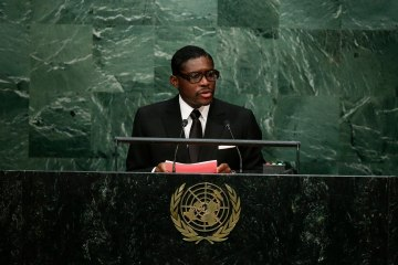 Teodoro Nguema Obiang Mangue, Vice-President of Equatorial Guinea, speaks during the 70th session of the United Nations General Assembly at U.N. headquarters, Sept. 30, 2015. (AP Photo/Frank Franklin II)
