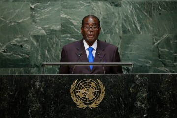 Zimbabwean President Robert Mugabe speaks during the 70th session of the United Nations General Assembly at U.N. headquarters Monday, Sept. 28, 2015. (AP Photo/Frank Franklin II)