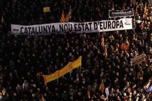 Thousands of people take to the streets in a  demonstration held at  Saint James Square in Barcelona on Dec. 10, 2012 to defend the teaching of the Catalan language. (EPA/Marta Perez)