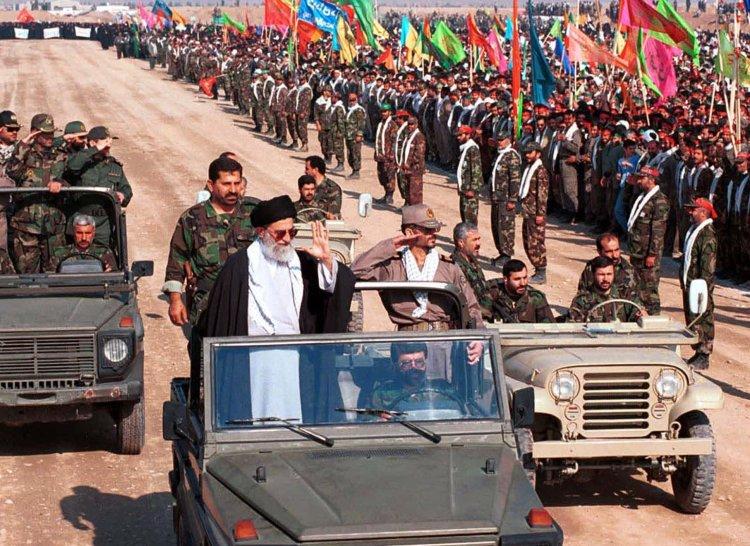 Ayatollah Ali Khamenei reviews the honor guard of some 110,000 Basij paramilitary forces in Tehran, Iran, Oct. 20, 2000. (AP Photo / Hasan Sarbakhshian)